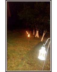 Žibintas žvakės baltas (gali būt su stovu-pakabinimui)