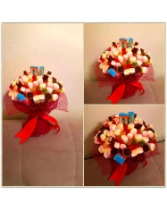 Saldainių ir zefiriukų dekoracija - puokštė